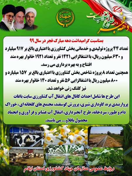 افتتاح ۴۴پروژه تولیدی و خدماتی به مناسبت گرامیداشت دهه مبارک فجر ۹۹