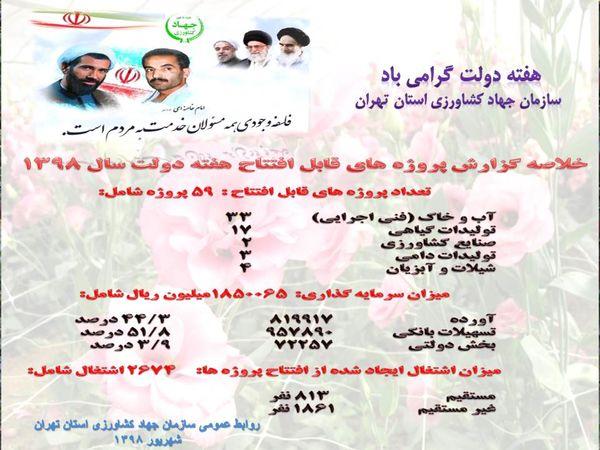 افزایش 10هزارتنی تولیدات کشاورزی استان تهران با افتتاح 59 پروژه درهفته دولت