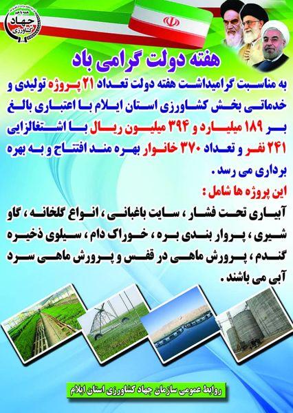  افتتاح ۲۱ پروژه تولیدی و خدماتی بخش کشاورزی استان ایلام