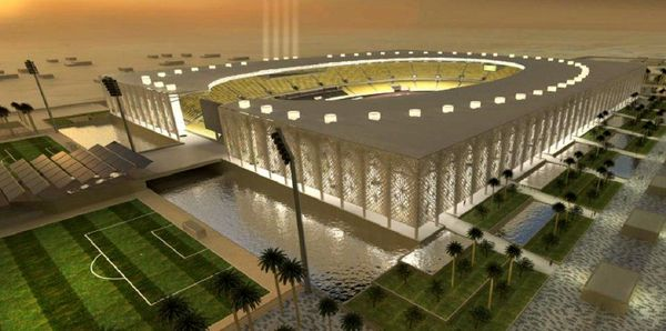 افتتاح ورزشگاه زیبای نجف در محاصره خندق های پر از آب