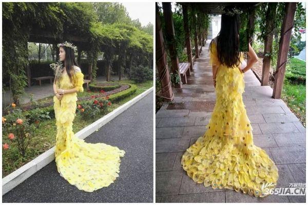 لباس زیبای زنانه دوخته شده از برگ گیاهان جنجالی شد + تصاویر