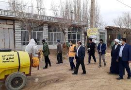 اقدام جهادگرانه بسیجیان سازمان جهاد کشاورزی؛ بسیجیان برخی از روستاهای استان سمنان را ضدعفونی کردند