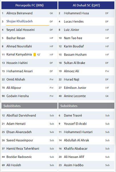 ترکیب دو تیم پرسپولیس و الدحیل