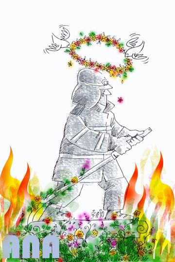 آتش در گلستان(سالگرد آتش سوزی پلاسکو)-کارتون فیروزه مظفری