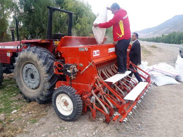 کشت پاییزه غلات به صورت کاملا مکانیزه انجام میشود