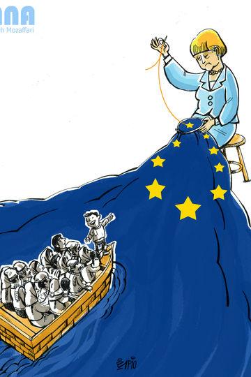 مرکل،حق پناهندگی در آلمان حفظ میشود -کارتون فیروزه مظفری